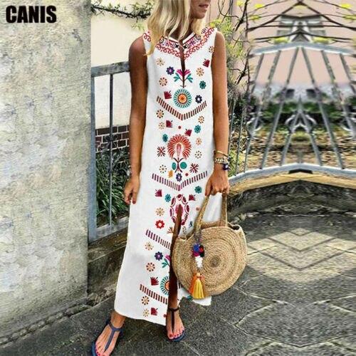 Mulheres verão vestido longo floral impressão causal boho vestido sem mangas fenda senhora maxi tamanho 5xl vestidos de verão praia vestido
