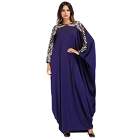 MYTL Casual Loose Muslim Long Dress Women'S Embroidery Sequined Maxi Dress Bat Sleeve Kimono Robe Gowns Ramadan Middle East Ar