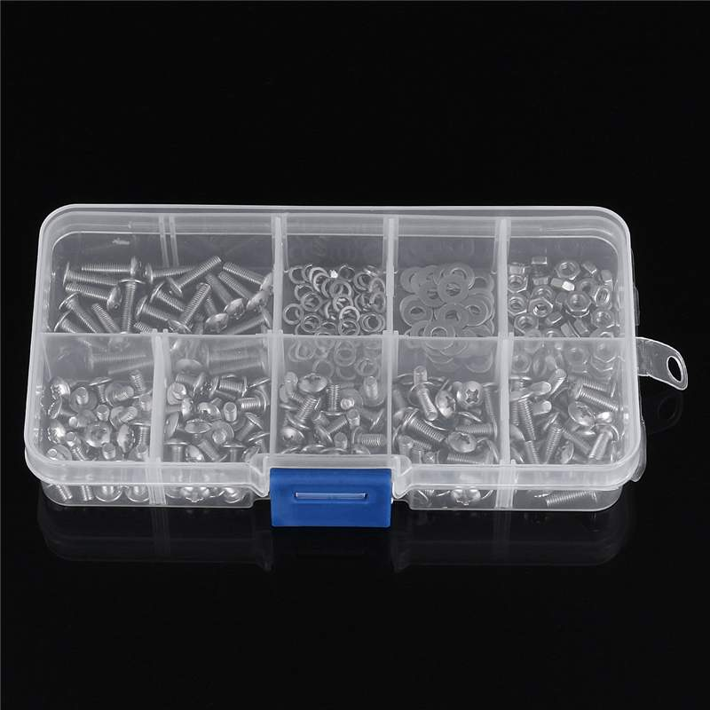 300pcs 304 Stainless Steel Phillips Screws Bolt /& Hex Nuts Washers Assortment