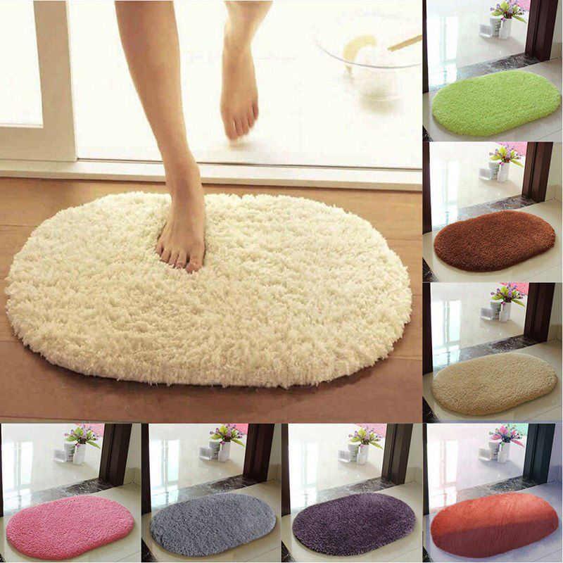 Овальные коврики для ванной комнаты Нескользящие впитывающие мягкие маты из микрофибры коврики ковры для спальни кухни 50*30 см для входа 9 цветов