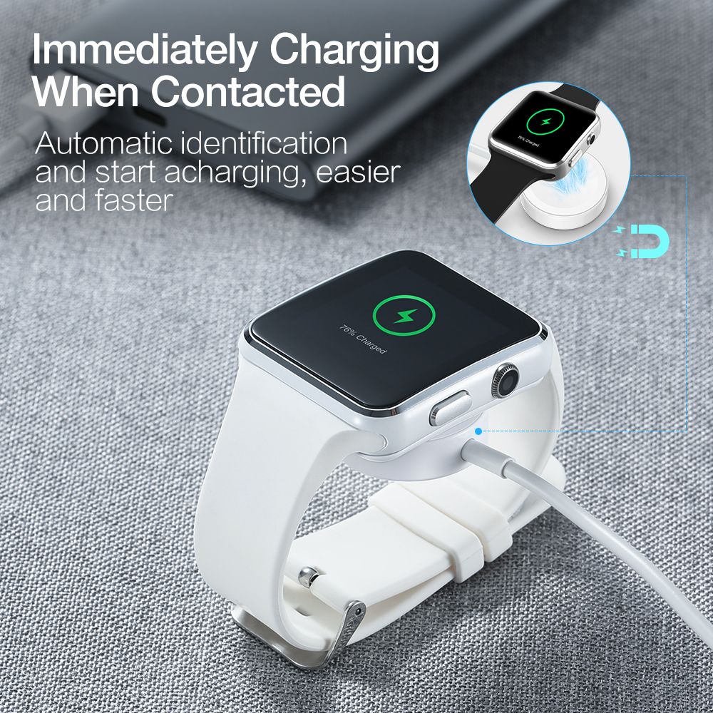 KISSCASE For Apple Watch Wireless Charger Cable USB Magnetic Quick Charging Cable 1M Portable For Smart