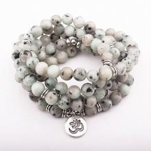 8 мм бусины из натурального камня мульти-Рядовая обмотка браслет 108 Мала Браслет Чакра Йога буддийский браслет или ожерелье подарок