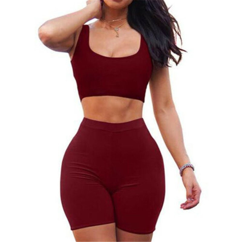 Women Summer 2Pcs Set Crop Top And Shorts Bodycon Outfit Short Pants Hiking Outwear