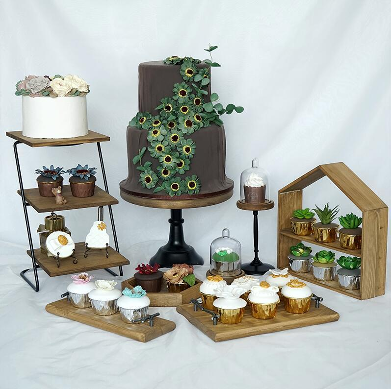 8 Pieces Wood Cake Stand Set Forest Style Cake Tools Fondant Cake Tray Home Decoration Dessert