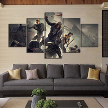 5 Piece Overkills The Walking Dead Game Poster Art Canvas Paintings for Home Decor Wall