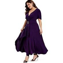 Elegant Women Maxi Dress Ruffle Short Sleeve Lady Wrap Overlap Dress 2019 Summer Sexy Female Solid Dress Robe Femme Vestidos недорого