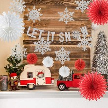 New Year Decoration For Home 19pcs With Snowflake Paper Fans Let It Snow Hanging Banner Merry Christmas Decorations
