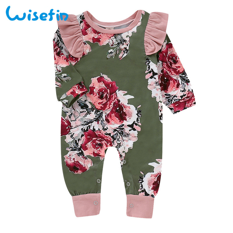 Wisefin Newborn Girl   Romper   Clothes Autumn Winter Floral Ruffle Baby   Rompers   For Girl Flower Print Infant Jumpsuit Girl Onesie