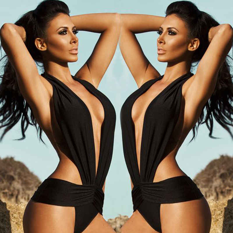 Black One Piece Swimwear Women Halter Backless Swimsuit Bathing Suit Monokini Push Up Padded Bikini Lady Beachwear S-XL