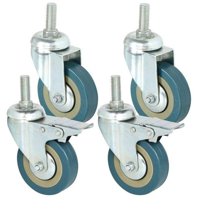 Rotatable castors made of heavy steel and PVC 75mm casters with brake casters for furniture, set of 4 (support wholesale discoun