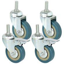 Rotatable גלגלים עשוי כבד פלדה ו pvc 75mm גלגלים עם בלם גלגלים עבור רהיטים, סט של 4 (תמיכה סיטונאי discoun