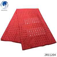 Beautifical lace african fabric african swiss voile laces cotton lace materials african materials high quality red color 2R112