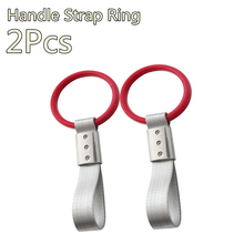 2 X Red Round Interior Hang Ring Hand Strap Charm Drift Hook for Subway Train Bus Car Circle