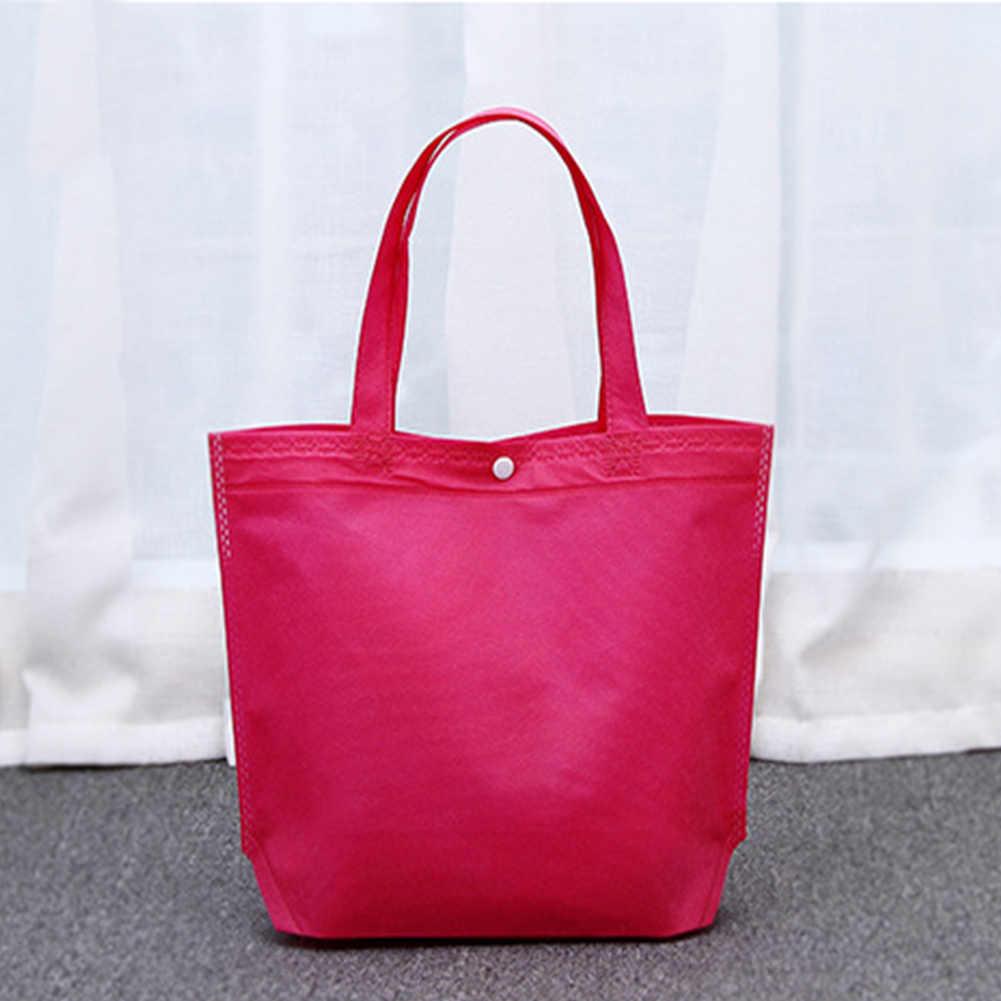 Bolsas de compras reutilizables de gran capacidad no tejidas bolsa de mano plegable con botón de alta calidad para mujer bolsas de almacenamiento Eco de supermercado