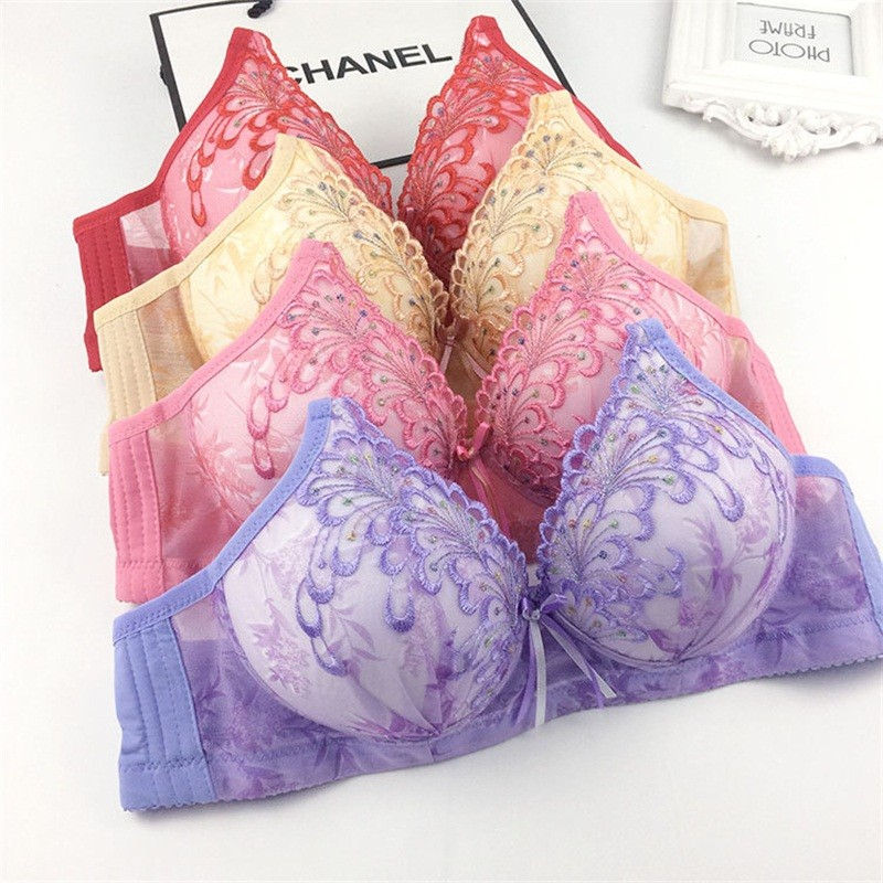 Deruilady Women Wire Free Bra Thin Cup Floral Embroidery Bras For Women Seamless Comfortable Underwear Soft Lingerie Women Bras