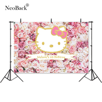 Golden Kitty Vinyl Custom Pink Floral Wall Birthday Banner Ceremony Photo Backgrounds Photo Backdrops Party Welcome Board P4547