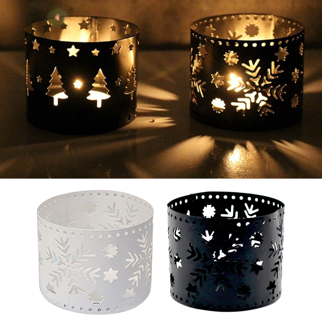 2piece Of Xmas Hollow Candleholder Christmas Theme Candlestick Decor Ornament,metal Holder White&black Home Decor