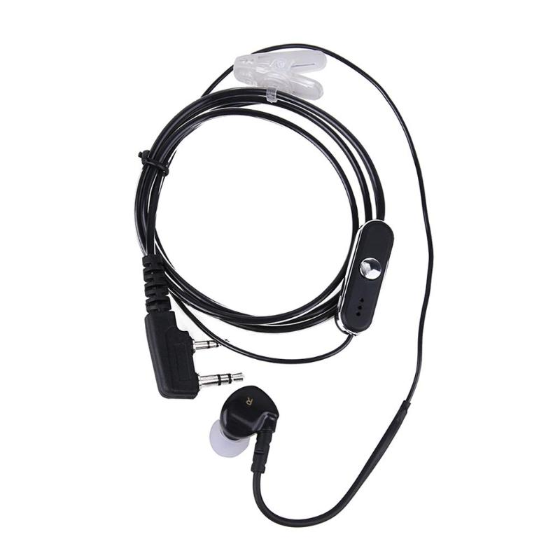 2Pin Sports Earpiece Headset W/ PTT MIC For BAOFENG Retevis Radios Black