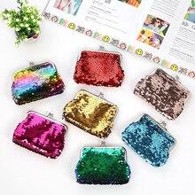 Женский Детский мини-кошелек для монет, Модный маленький кошелек с блестками, сумка для денег, держатель для карт, клатч, кошельки, кошелек на застежке, рождественский подарок