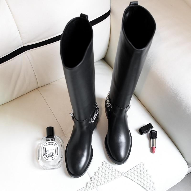 As Diseño Slip Alta as Botas En Zapatos De Pic Mitad Redonda Pic Caballero Punta Mujer Cuero La Caliente Vaca Marca Invierno Genuino Rodilla A6TvgwqH