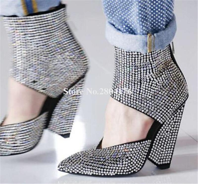 Femmes luxueux Bling Bling bout pointu strass pointe talon bottes courtes cheville Wrap découpé cristal étrange talon bottines