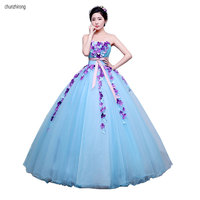 Vestido Debutante Gowns Ball Gown Quinceanera Dresses Appliques Organza Strapless Neck Floor Length Formal Prom Sweet 16 Dress