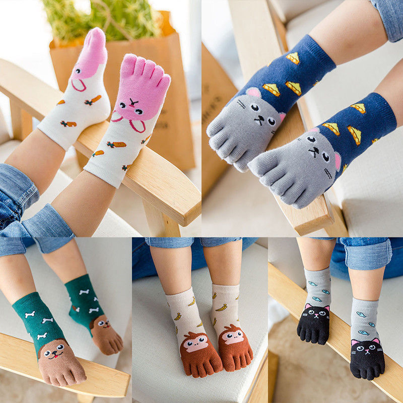 Toddler Baby Kids Girls Boys Cartoon Socks Babies Child Animal Five Fingers Sock Hosiery Toe Sock Accessories