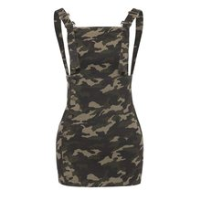 Casual Women Army Green Dress 2019 Square Neck Camouflage Female Day Dress Summer Straight Mini Girls Dress army green side pockets v neck short sleeves camouflage dress