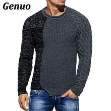 Genuo 2018 men's fashion patchwork sweater autumn winter round neck pull homme Christmas sweater men matching slim knit sweater