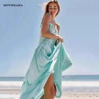2019 Sexy Sling Blue Dress Women Bandage Fungus Halter Dresses Beach Casual Boho Summer Dress 2019 Long Night Dresses Women Sale