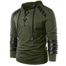 27f2e3b0b Kenancy 2019 Spring Autumn Men Lace Up Faux Leather Hoodies Solid Army Green  Long Sleeves Casual Sweatshirts Male Pullovers Tops