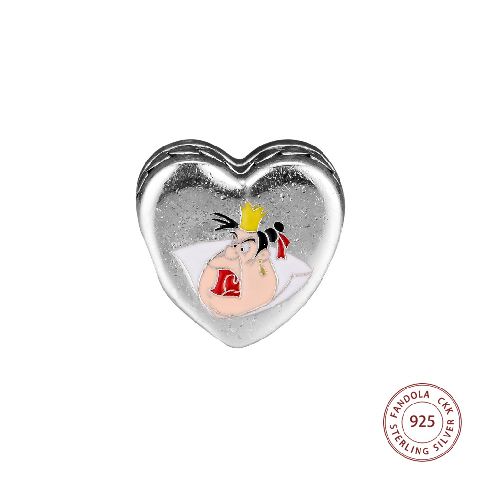 100% 925 Sterling Silber Merkmale Königin Der Herzen Und Royal Schlechtigkeit Perlen Charme Für Schmuck Herstellung Passend Pandora Armbänder SchöN In Farbe