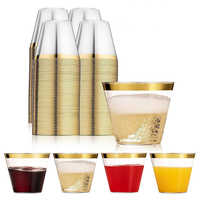 100PCS Environmentally Friendly And Practical Wedding Party Gold Bronzing Plastic Cup Disposable Gold Plastic Cup