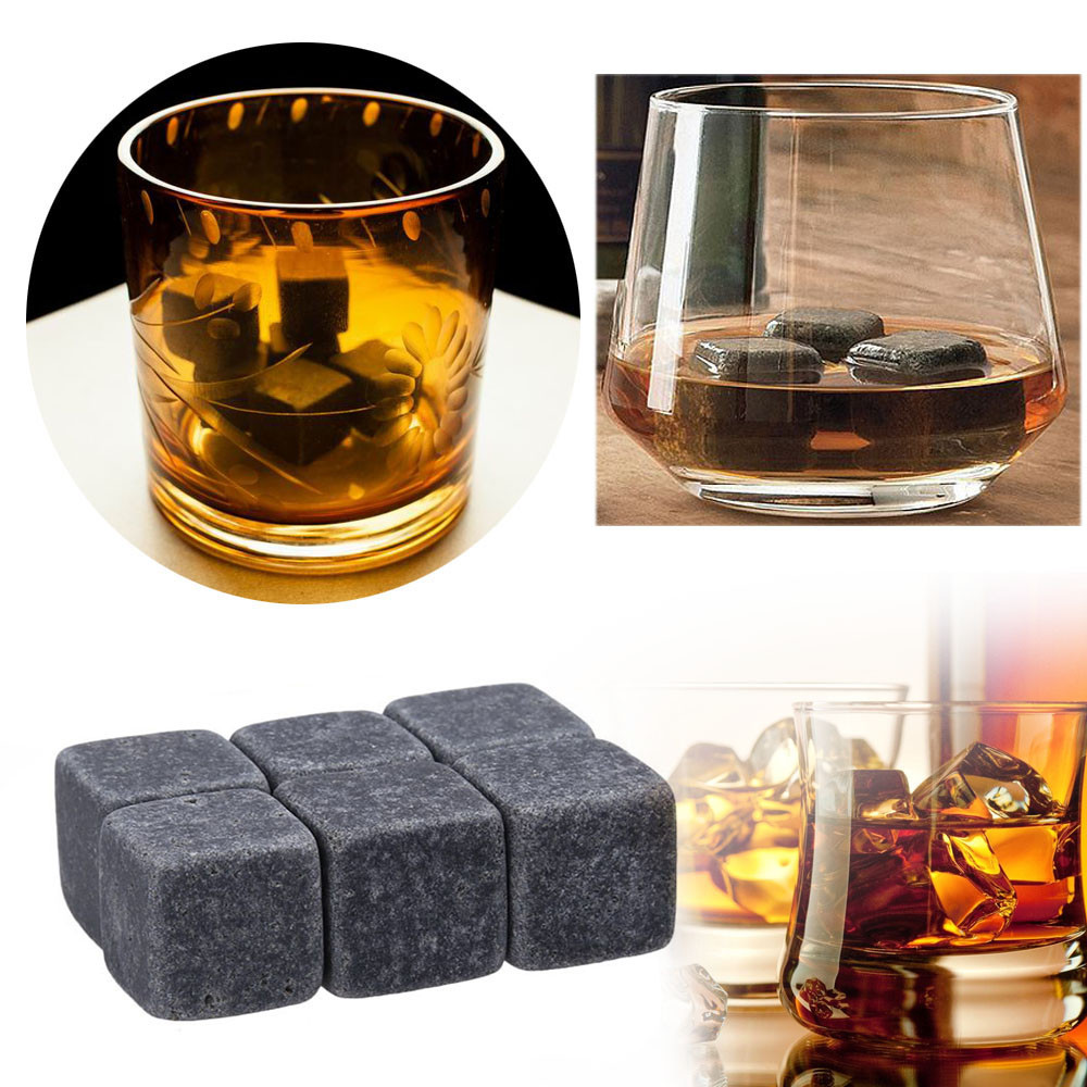 Dropship 6pcs Natural Whiskey Stones Sipping Ice Mold Drinking Alcohol Whisky Rocks Cooler Party Wedding Decor Bar Accessories