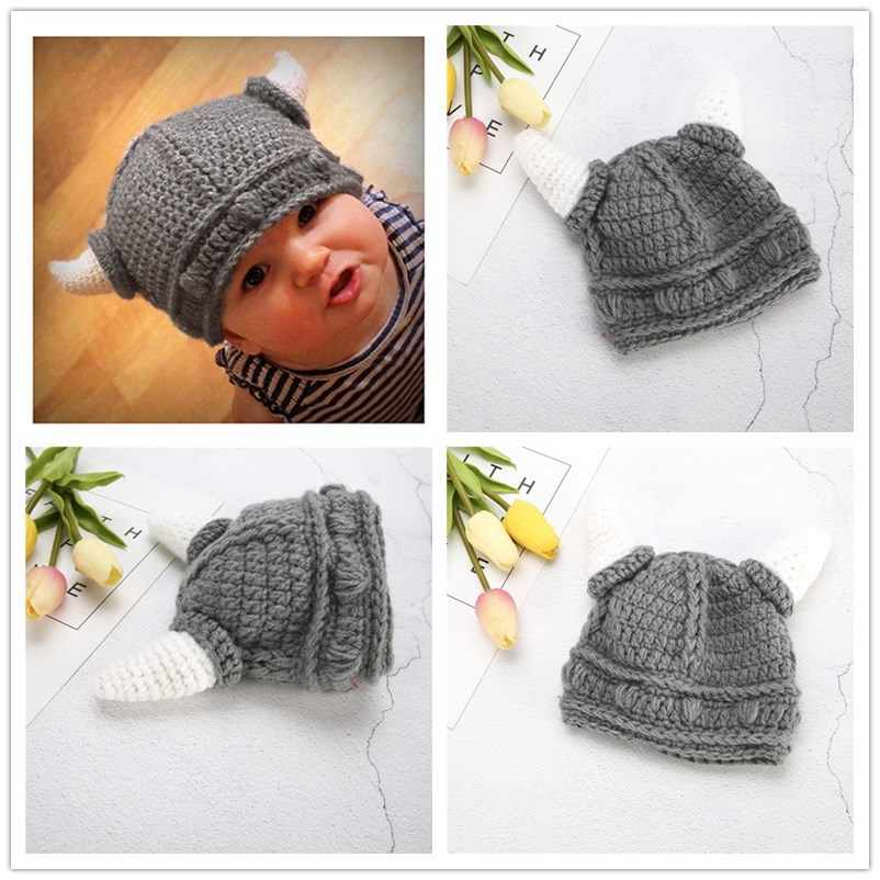 fc3187d8244 Children Infant Handmade Crochet Winter Hats Kid Viking Horns Hat Knitted Caps  Snapback Swag Skullies Caps