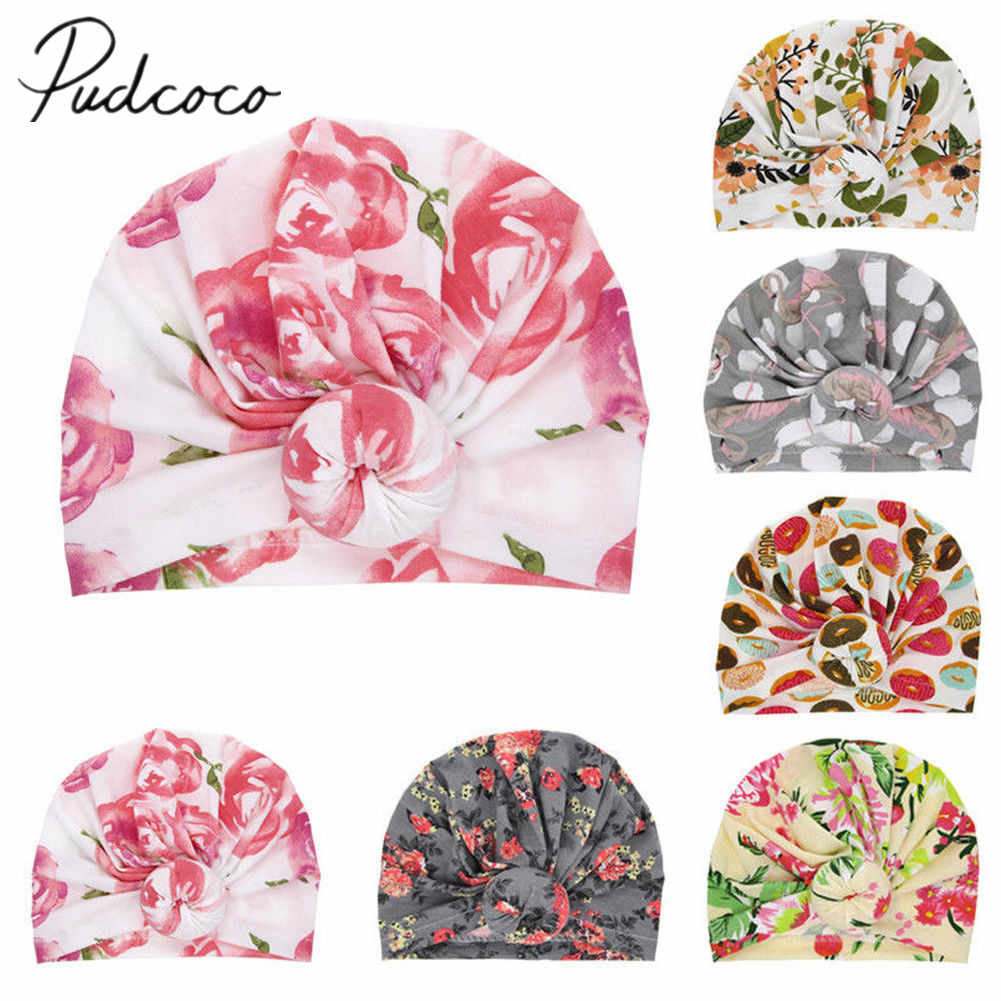 2019 Brand New Fashion Newborn Toddler Kids Baby Boy Girl Turban Cotton Beanie Hat Winter Cap Flower Donut Hats Soft Caps Gifts