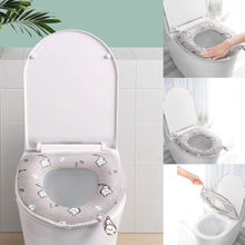Home Bathroom WC Paste  Toilet Seat Washable Soft Warmer Mat Lid Cover Pad Cushion