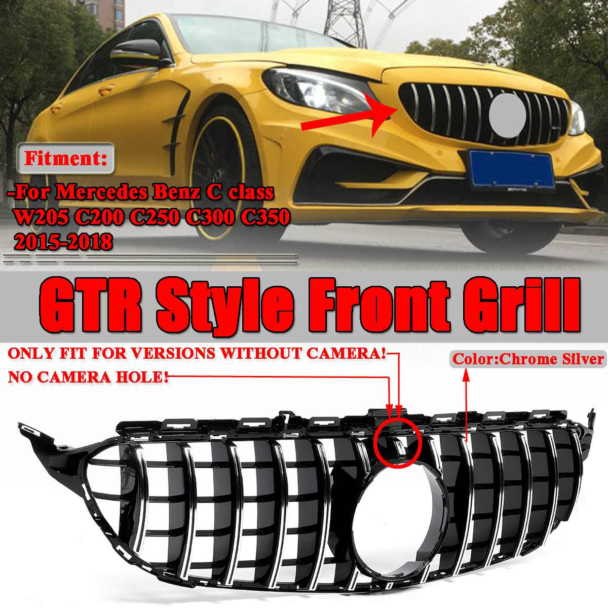 W205 GT R GTR For AMG Grill Grille Car Front Bumper Mesh For <font><b>Mercedes</b></font> For Benz W205 For AMG Look C200 C250 <font><b>C300</b></font> C350 2015-2018 image