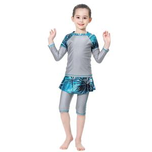 Image 5 - 3PCS Muslim Kids Girls Modesty Swimwear Swimsuit Burkini Islamic Clothing Full Cover Beachwear Bathing Suits Print Patchwork New
