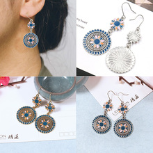 High Quality Unique Golden Drop Earring Lovely 1Pair Silver Ear Ornaments Jewelry Accessories Ethnic Flower Dangle