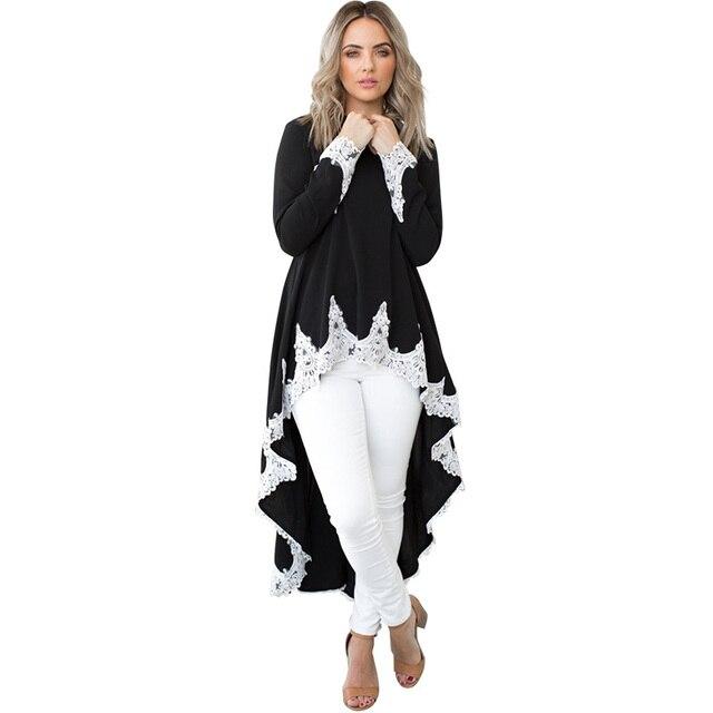 e523b326a50 Casual Women Autumn Kaftan Loose Dress Plus Size Irregular Hem Lace Splice  Long Sleeves O Neck Midi Dress Ladies Oversize Shirt