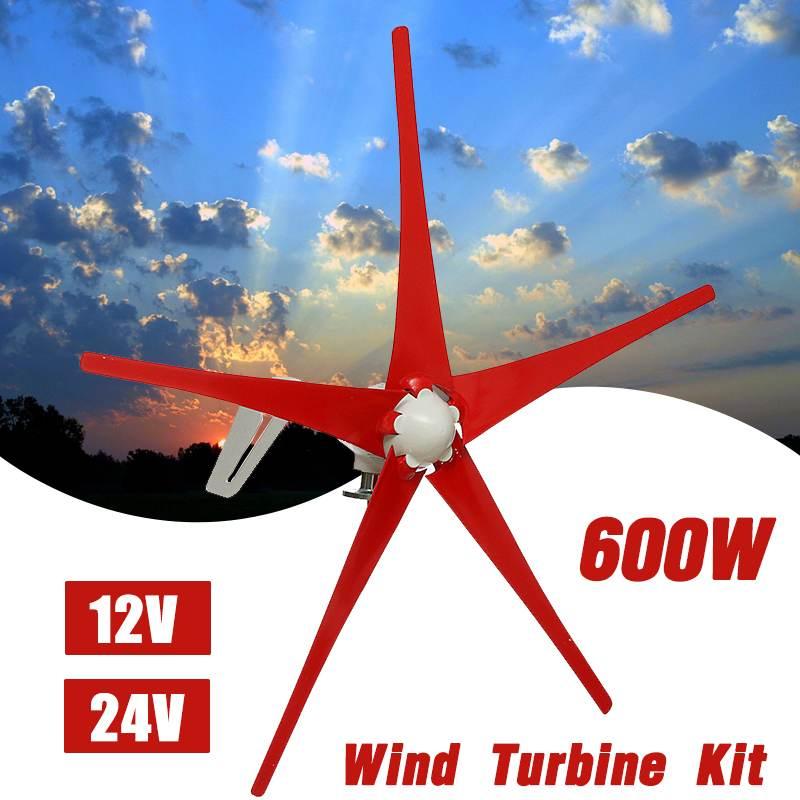600 W 12 V 24 Volts 5 Nylon fibre Lame Home Horizontal Vent Turbo Set Power Générateur Moulin À Vent D'énergie Avec contrôleur Maison Rouge