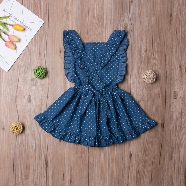 Noworodek dziewczynki letnia niebieska kropka bez rękawów księżniczka na plecy sukienki krzyżowa, bez pleców sukienka 1-6T