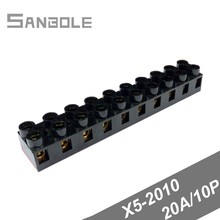 Terminal Blocks X5-2010 20A/10P Black Copper Fixed Type Connector JX5-2010 Base Connection Terminals Plate (10PCS)