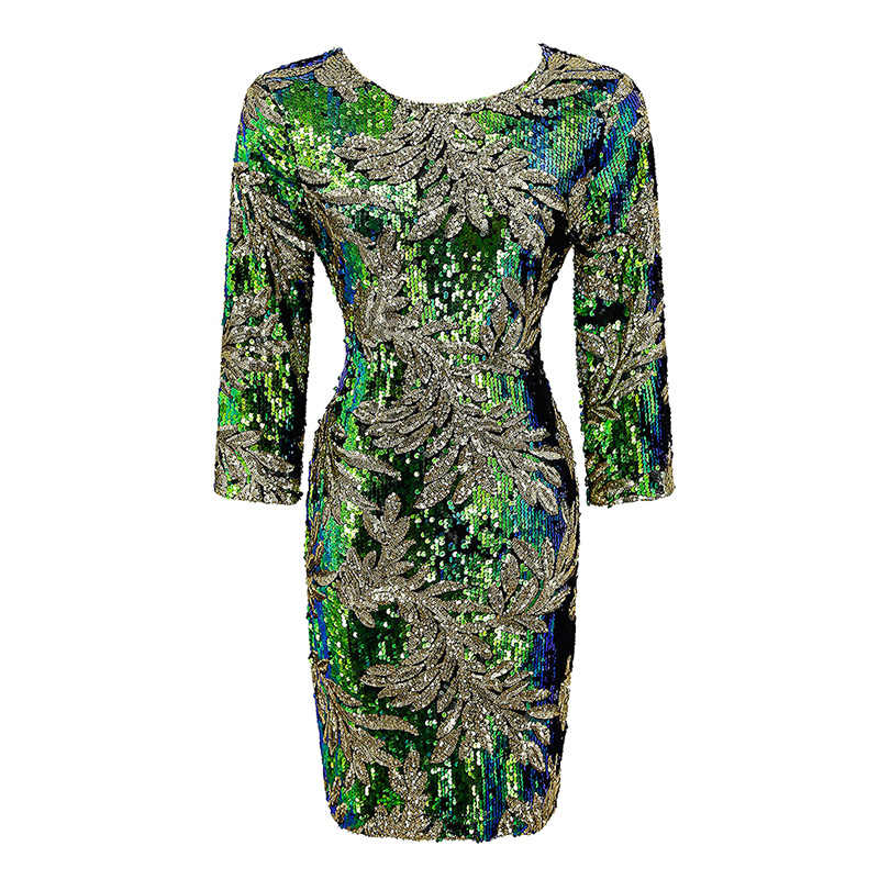Spring Fashion Women Sequined Bodycon Dress 3/4 Sleeves Round Neck Evening Party Casual Mini Dress Casual Green New Arrival