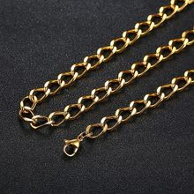 Vnox Gold Tone Chain Necklaces for Men 7MM Stainless Steel Male Choker Collar 60cm(China)