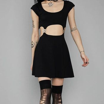 1bd15568f72 Rosetic Готический мини платье для женщин трапециевидной формы полые  пикантные Клубные пентаграмма спинки гот повседневные Черные уличная
