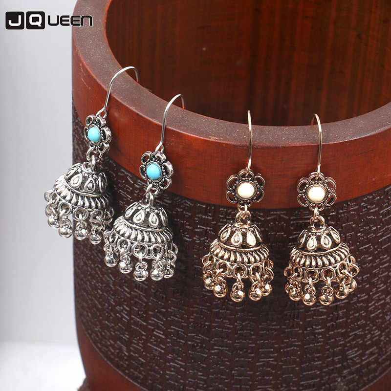 Vintage Silver Alloy Jhumka Bells Beads Tassel Statement Earrings for Women Gypsy Green Stone Dangle Indian Jewelry Party