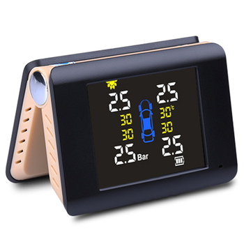 Tpms Car Tire Pressure Monitoring Intelligent System Solar Power Wireless Led Display With 4 External Sensor