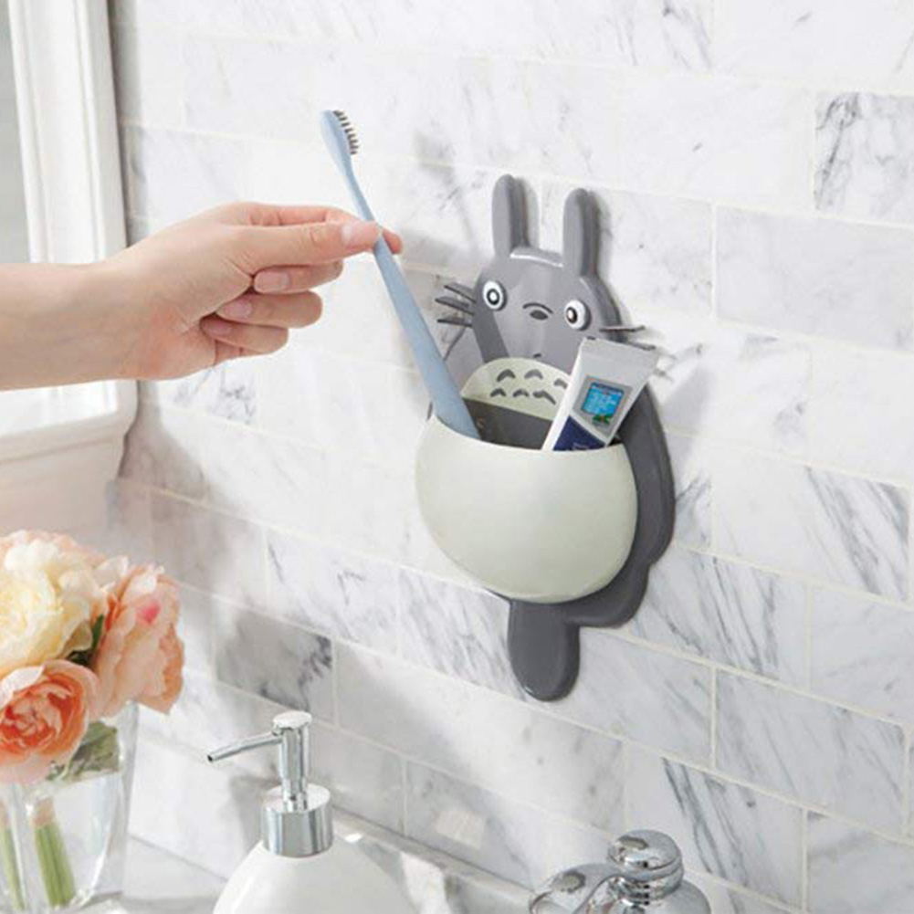 Cartoon Toothbrush Holder Suction For Kids Totoro Shaped Toothbrush Wall Mount Holder Sucker Suction Bathroom Accessories S3 image